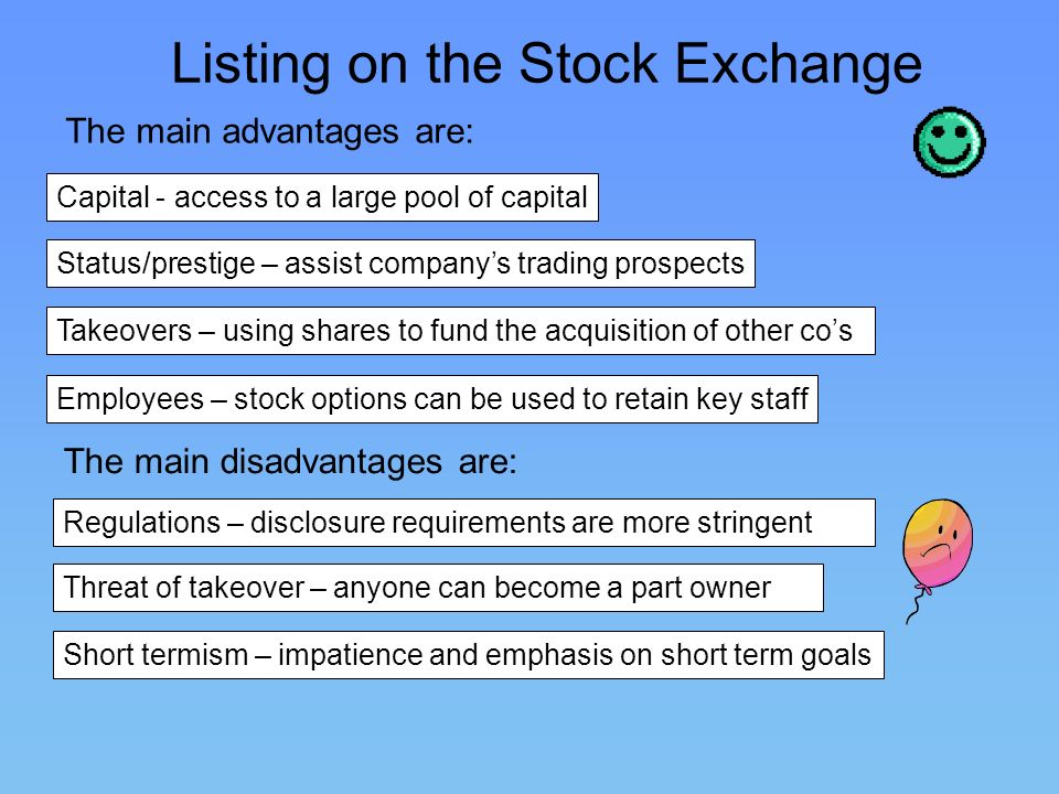 Listing on the Stock Exchange