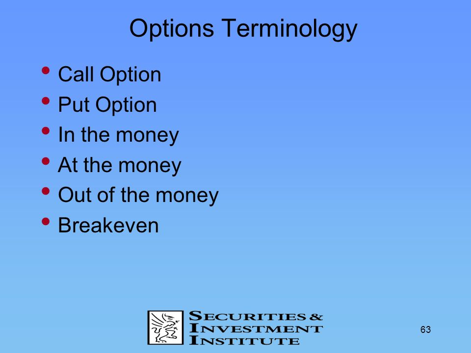 Options Terminology Call Option Put Option In the money At the money