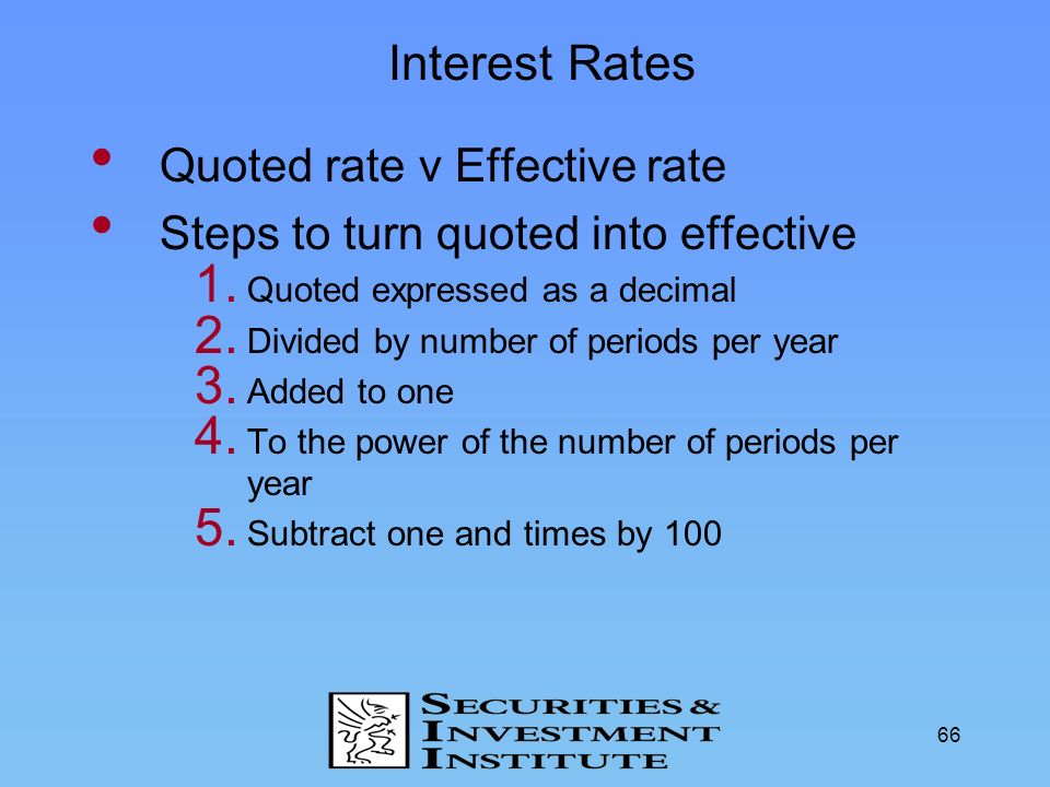 Interest Rates Quoted rate v Effective rate