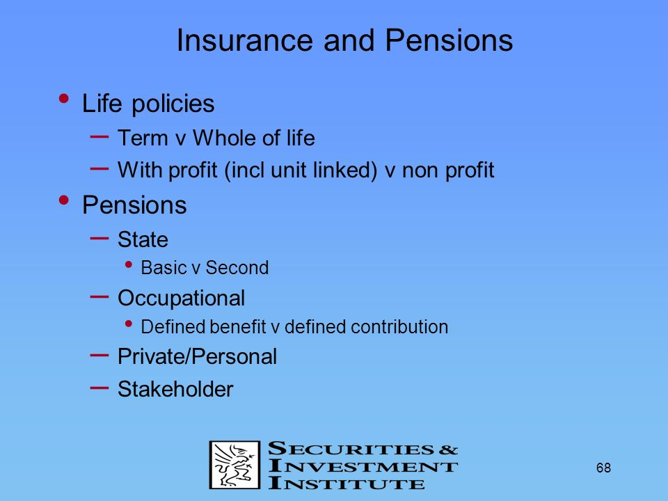 Insurance and Pensions