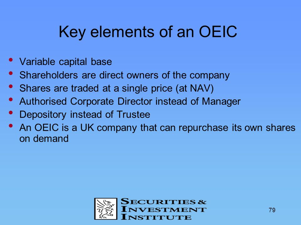 Key elements of an OEIC Variable capital base