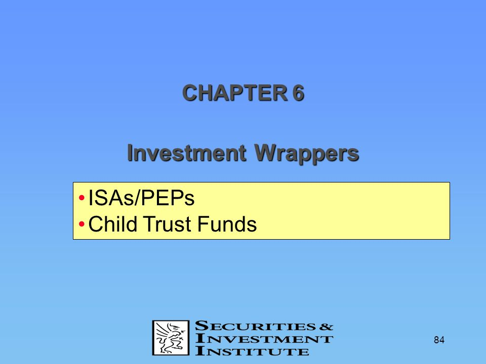 CHAPTER 6 Investment Wrappers ISAs/PEPs Child Trust Funds