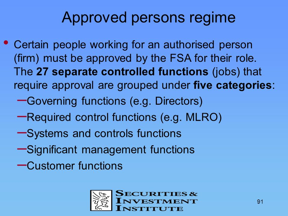 Approved persons regime