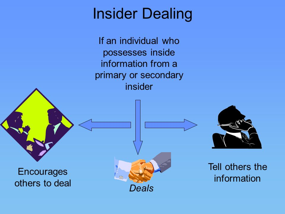 Insider Dealing If an individual who possesses inside information from a primary or secondary insider.