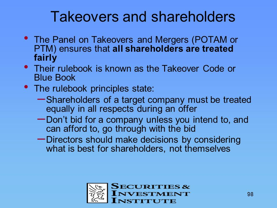 Takeovers and shareholders
