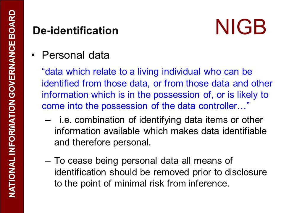 De-identification NIGB