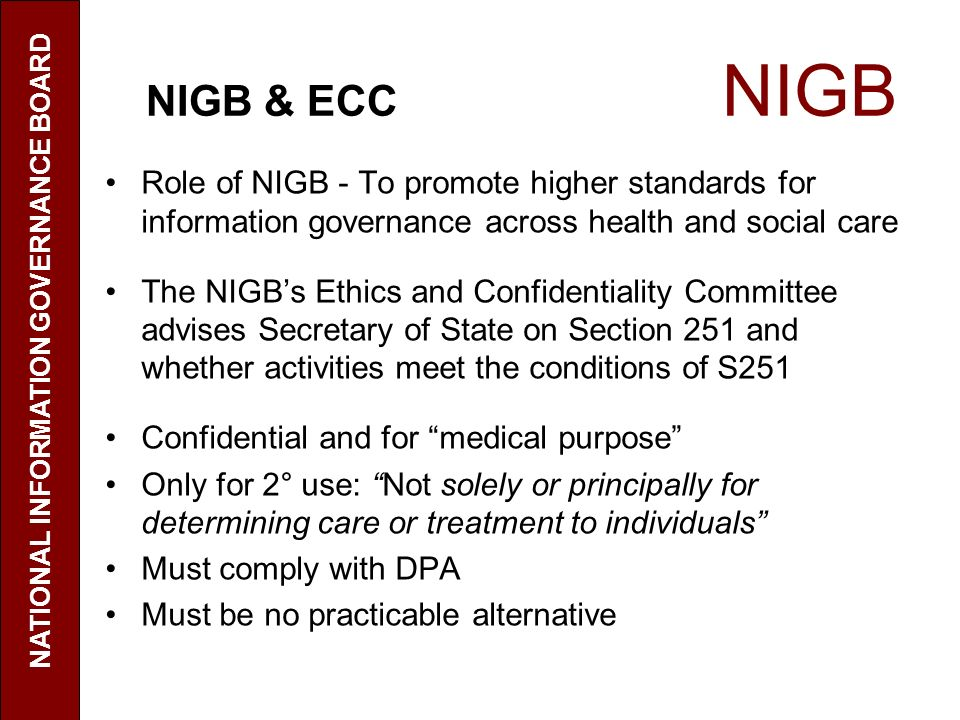 NATIONAL INFORMATION GOVERNANCE BOARD