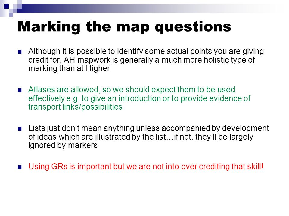 Marking the map questions
