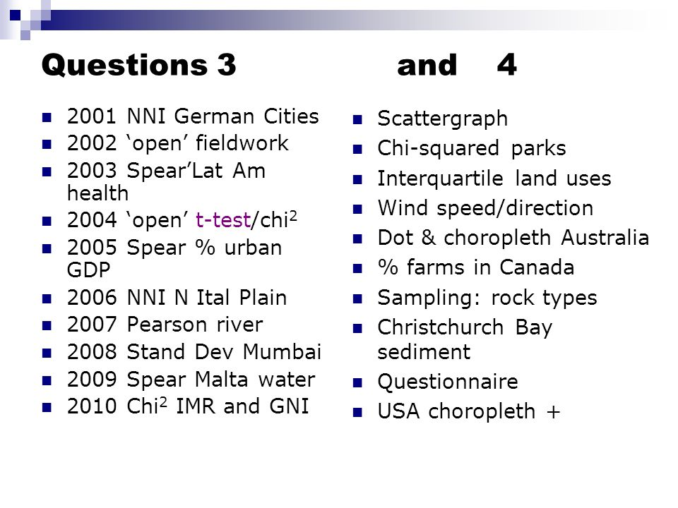 Questions 3 and 4 2001 NNI German Cities 2002 'open' fieldwork