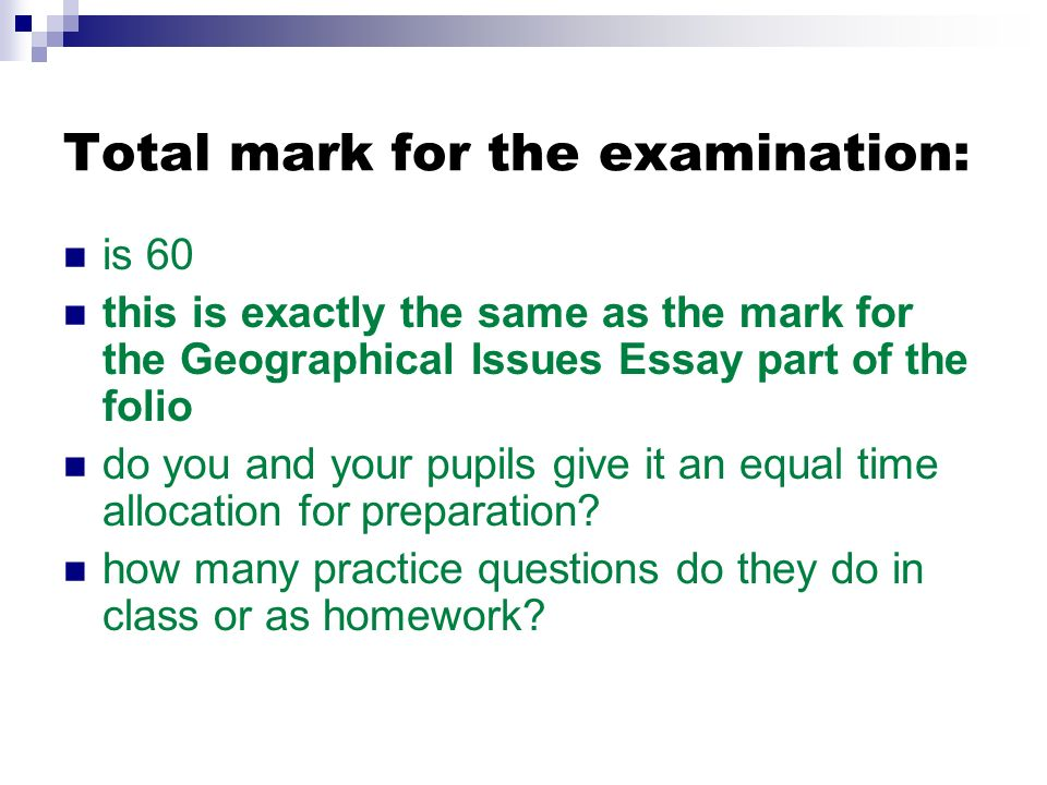 Total mark for the examination: