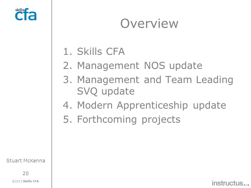 Overview Skills CFA Management NOS update