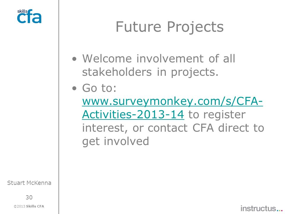 Future Projects Welcome involvement of all stakeholders in projects.