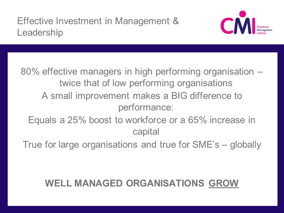 Effective Investment in Management & Leadership