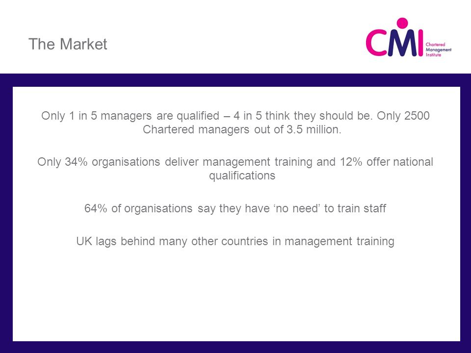 The Market Only 1 in 5 managers are qualified – 4 in 5 think they should be. Only 2500 Chartered managers out of 3.5 million.