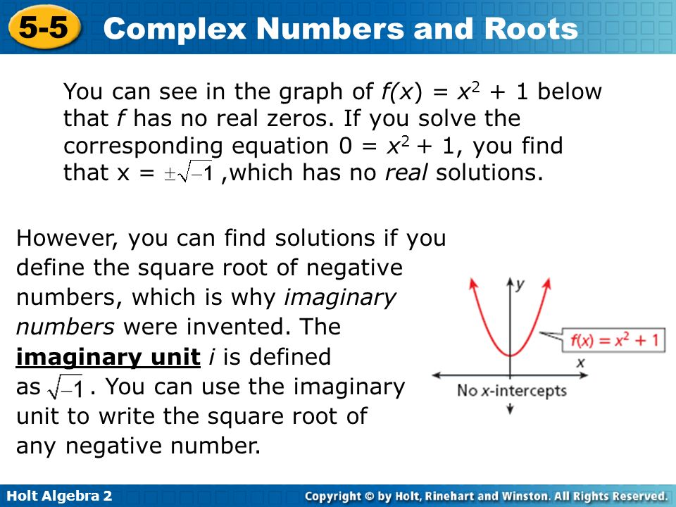 Objectives Define and use imaginary and complex numbers. - ppt ...