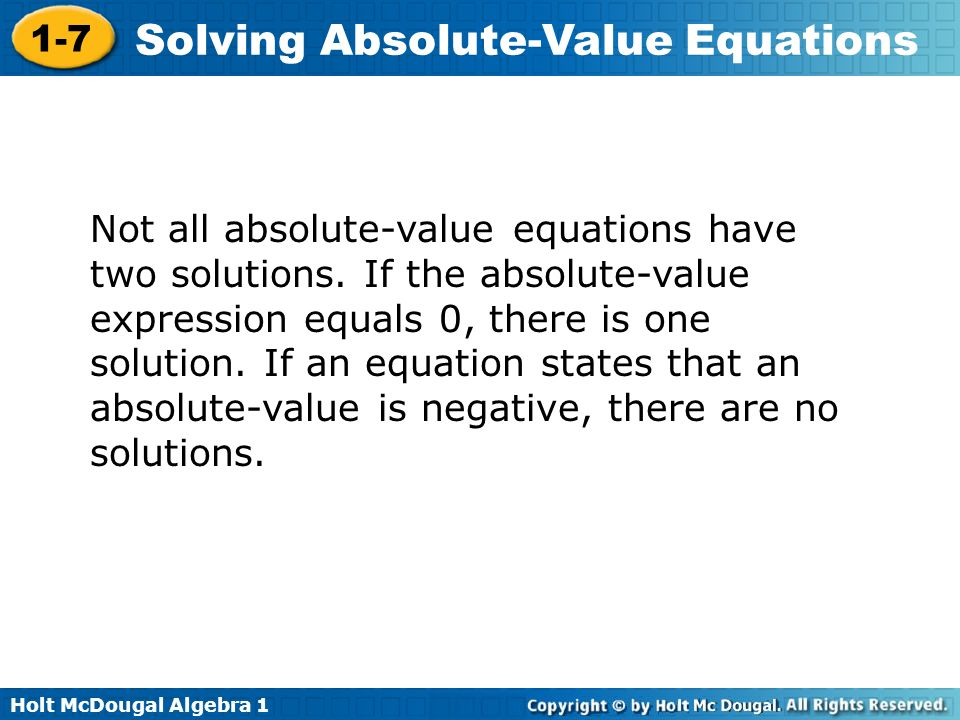 Write an absolute value equation that has no solution equation
