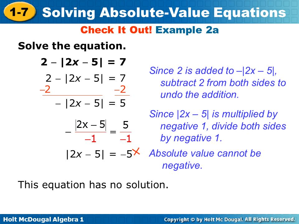 How can an absolute value equation have no solution?