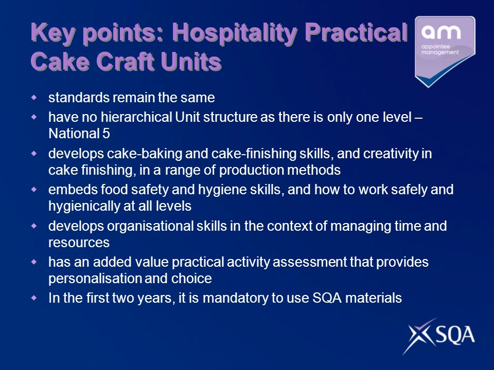 Key points: Hospitality Practical Cake Craft Units