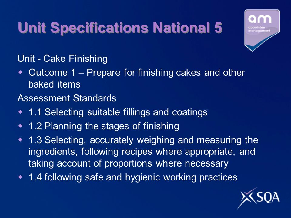 Unit Specifications National 5