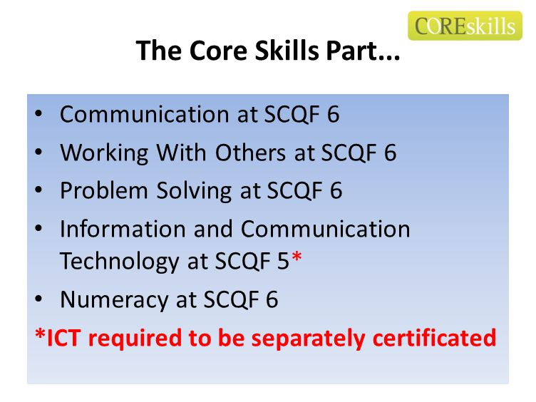 The Core Skills Part... Communication at SCQF 6