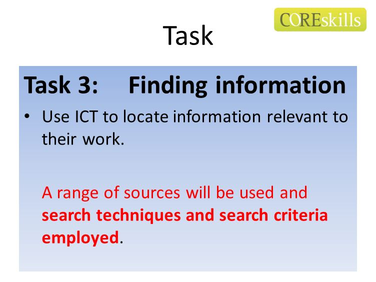 Task Task 3: Finding information