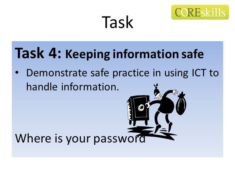 Task Task 4: Keeping information safe Where is your password
