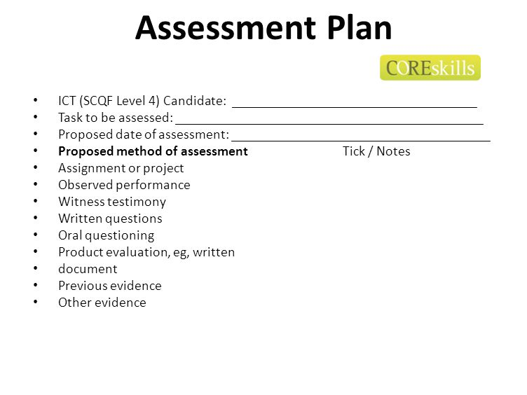 Assessment Plan ICT (SCQF Level 4) Candidate: ___________________________________.