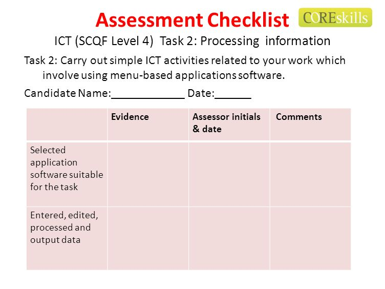 Assessment Checklist ICT (SCQF Level 4) Task 2: Processing information