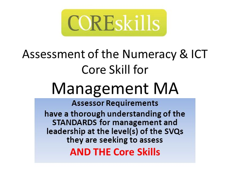 Assessment of the Numeracy & ICT Core Skill for Management MA