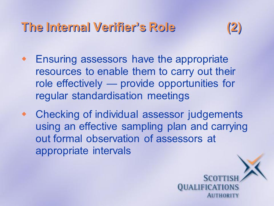 The Internal Verifier's Role (2)