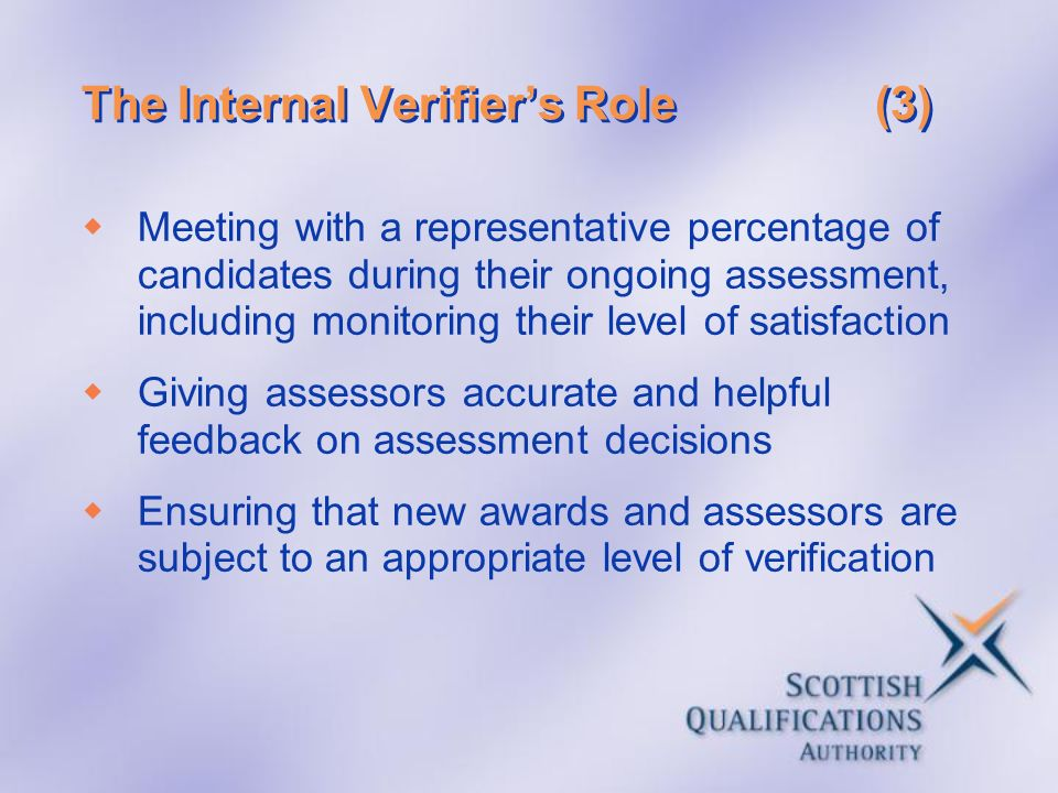 The Internal Verifier's Role (3)