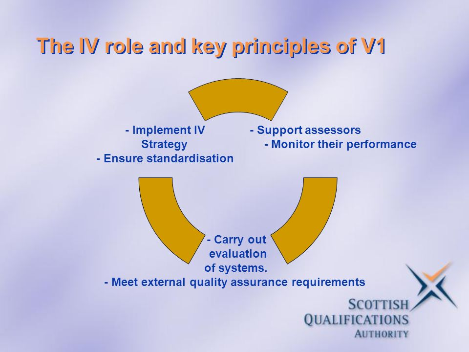 The IV role and key principles of V1