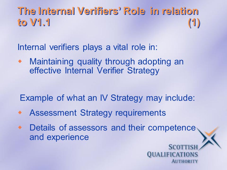 The Internal Verifiers' Role in relation to V1.1 (1)