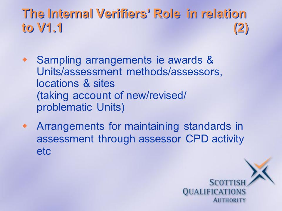 The Internal Verifiers' Role in relation to V1.1 (2)