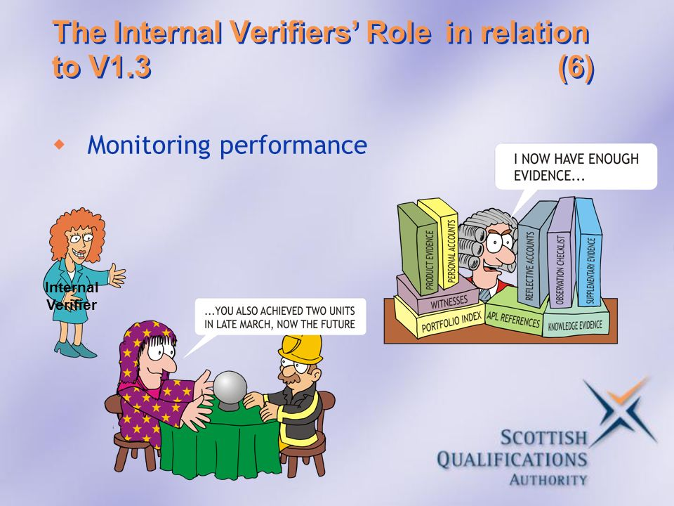 The Internal Verifiers' Role in relation to V1.3 (6)