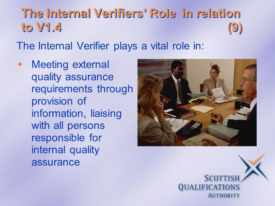 The Internal Verifiers' Role in relation to V1.4 (9)
