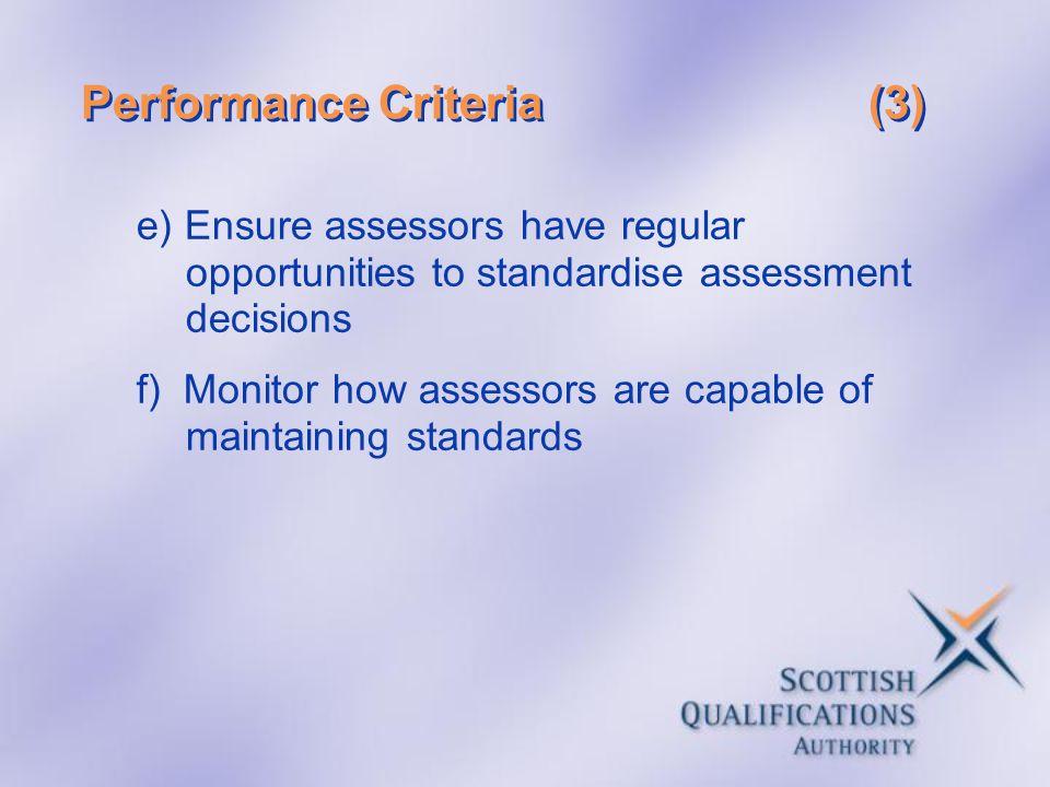 Performance Criteria (3)