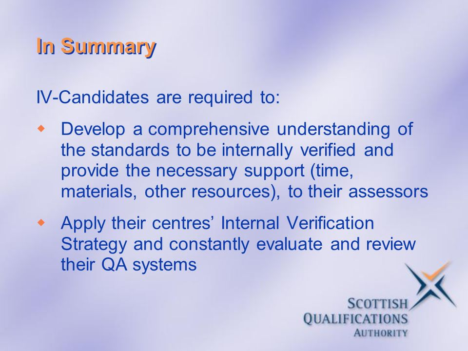 In Summary IV-Candidates are required to: