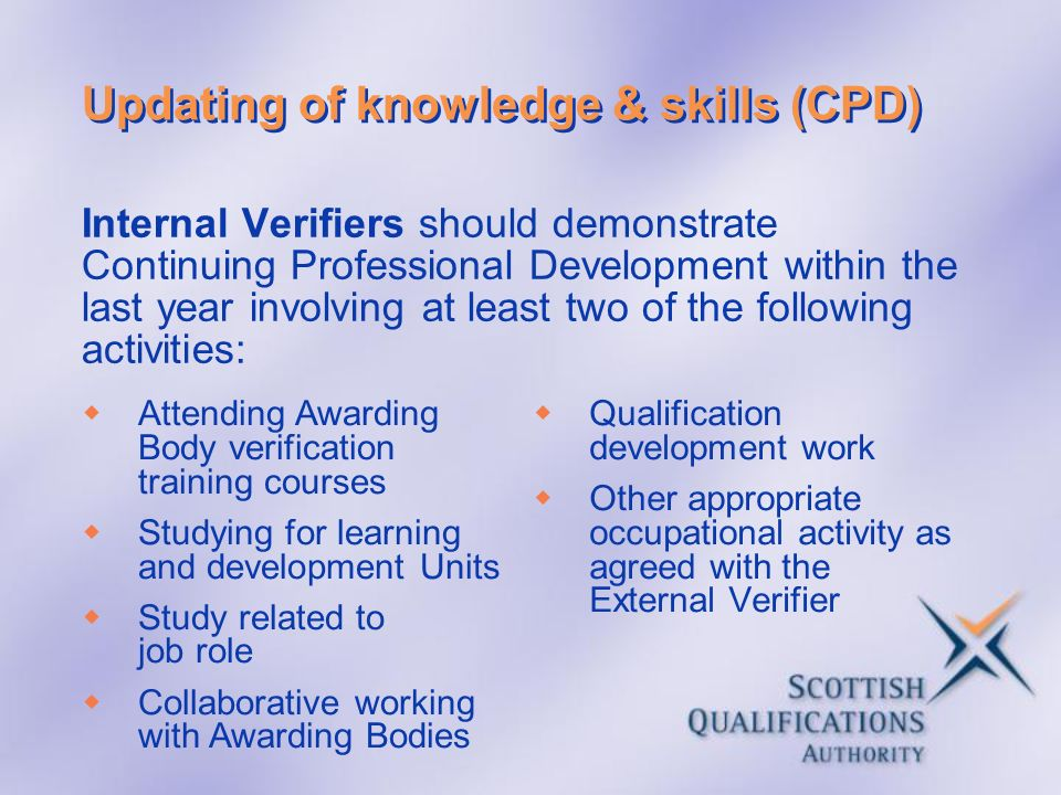 Updating of knowledge & skills (CPD)