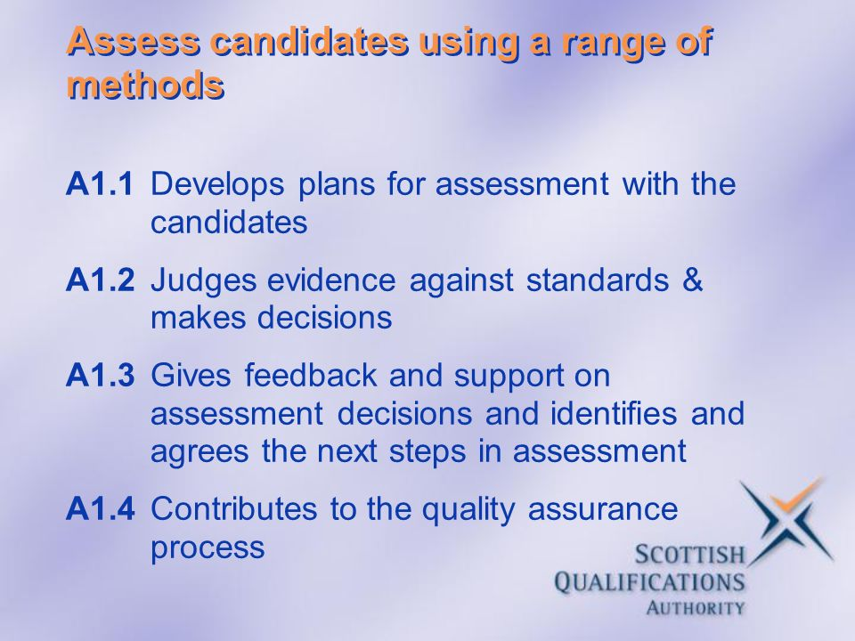 Assess candidates using a range of methods