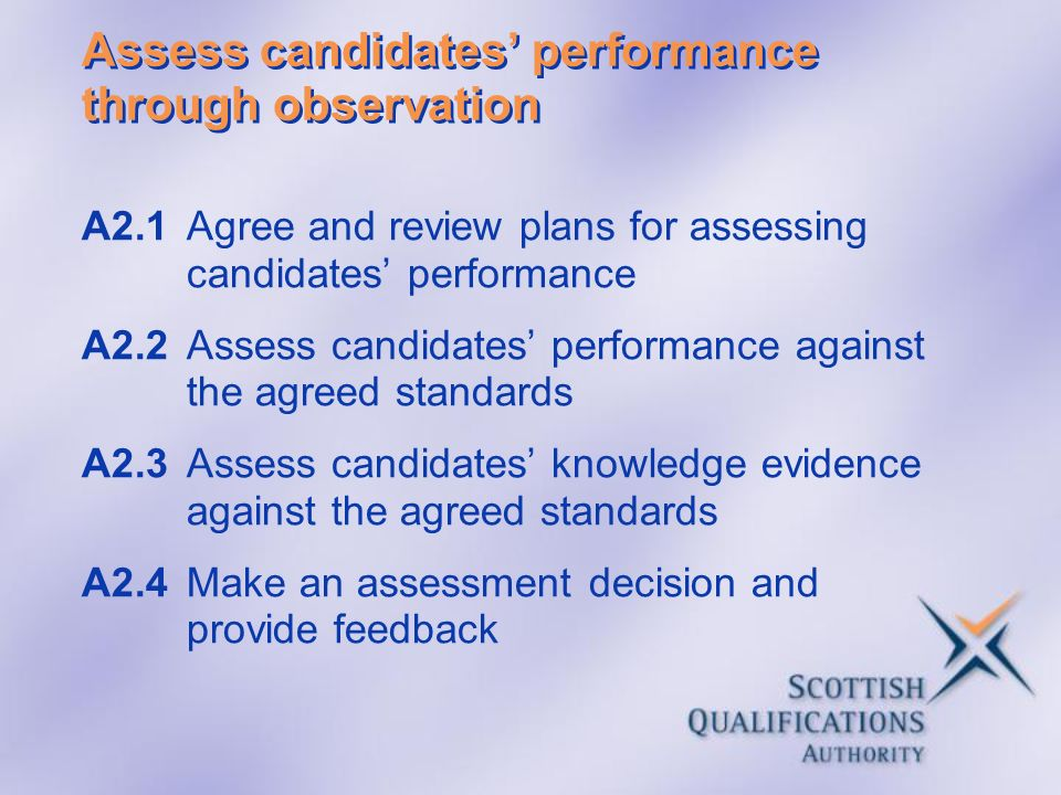 Assess candidates' performance through observation