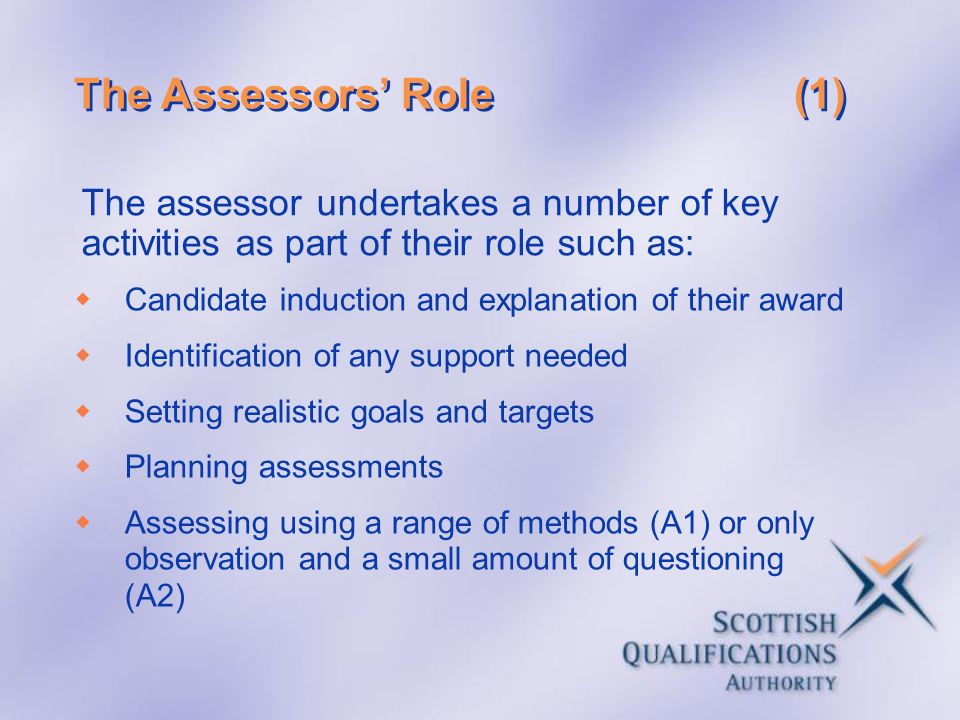 The Assessors' Role (1) The assessor undertakes a number of key activities as part of their role such as: