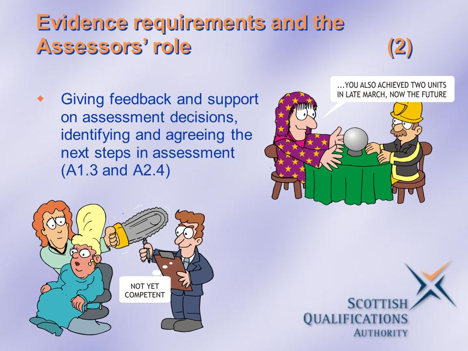 Evidence requirements and the Assessors' role (2)