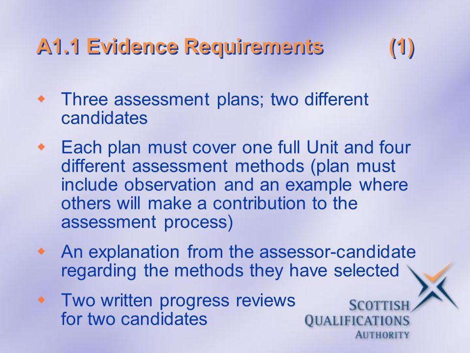 A1.1 Evidence Requirements (1)