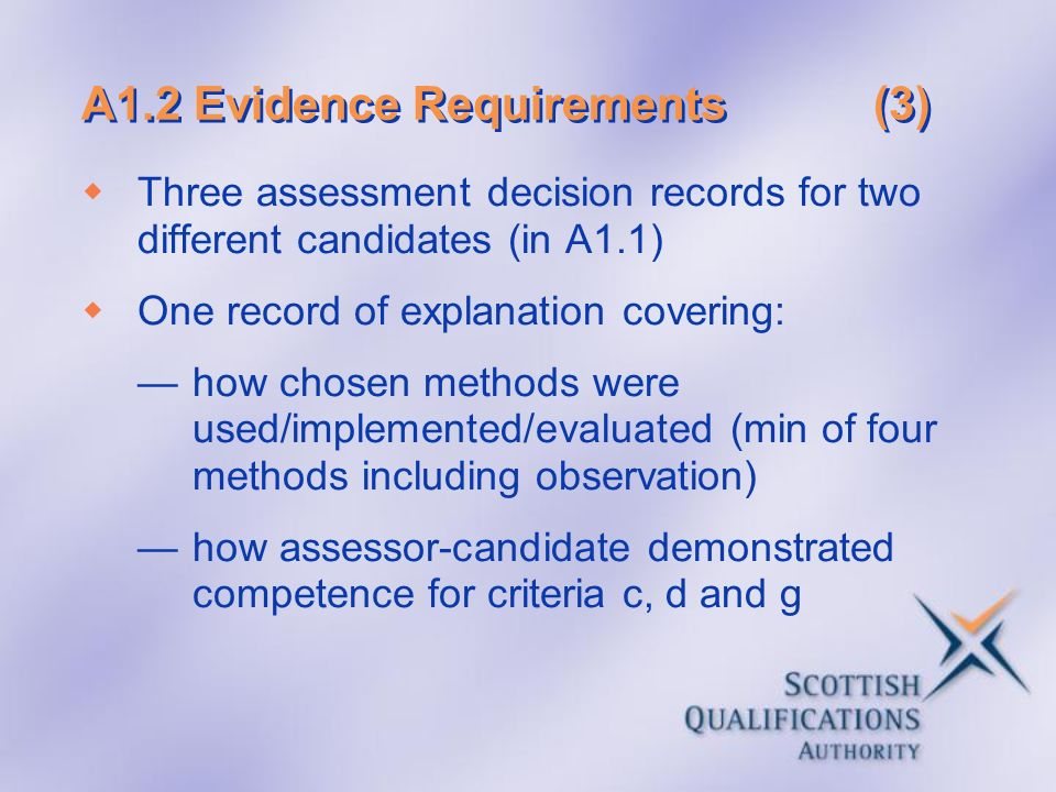 A1.2 Evidence Requirements (3)