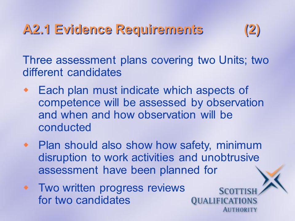 A2.1 Evidence Requirements (2)