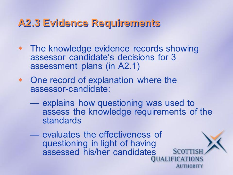 A2.3 Evidence Requirements