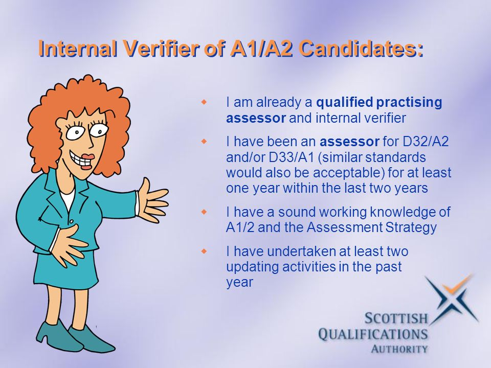 Internal Verifier of A1/A2 Candidates: