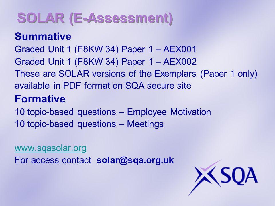 SOLAR (E-Assessment) Summative Formative