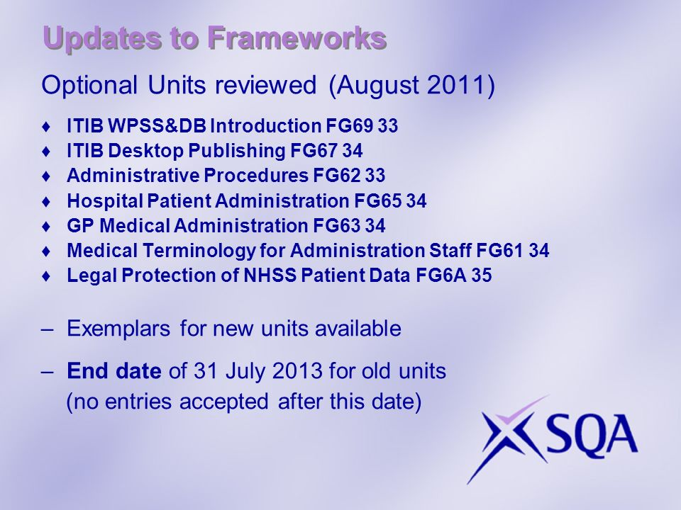 Updates to Frameworks Optional Units reviewed (August 2011)